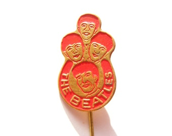 Beatles vintage stick pin, red color - The Beatles collectible button, badge
