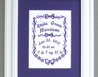 Flowers and Bows - Custom Embroidered Birth Announcement Keepsake