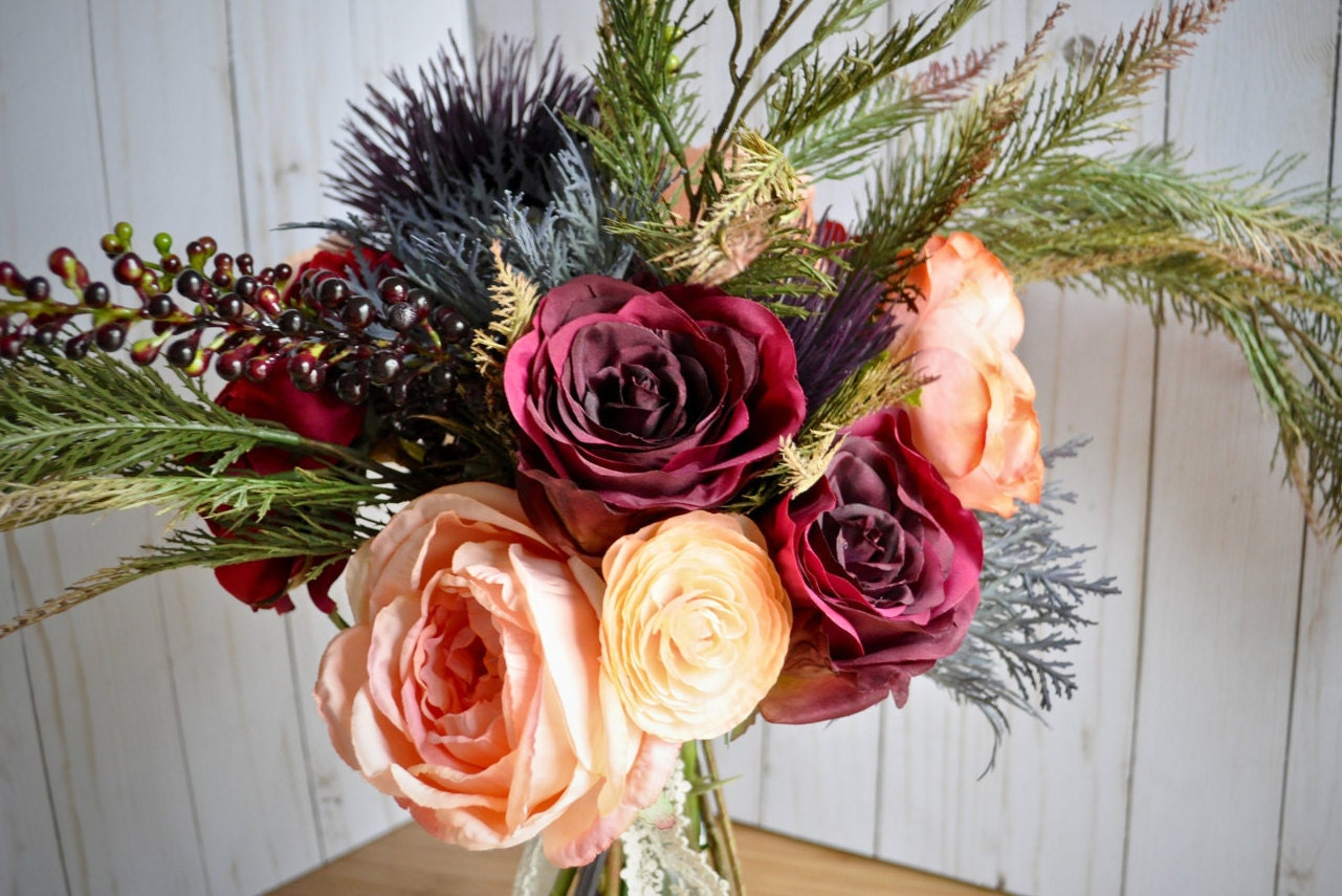 Marsala Peach Wedding Woodland Burgundy Bouquet Thistle