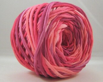 T Shirt Yarn Hand Dyed60 yards - Anne, Light Pink, Dark Pink, Orchid Pink