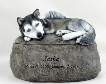 Ceramic Engraved Custom Siberian Husky Painted Cremation Urn - hand made pet urn