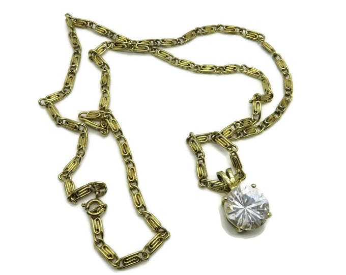 Large Rhinestone Pendant, Vintage Necklace,  Goldtone S-Link Necklace, Round Crystal Pendant, Long Chain Link Jewellery