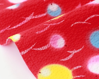 Japanese cotton waffle fabric traditional style red x50cm