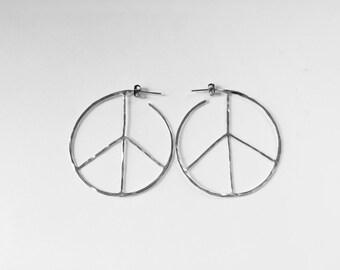 Small, Medium, or Large Peace Sign Hoop Earrings