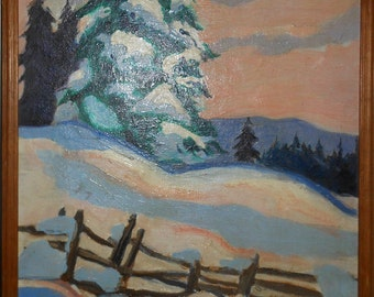 Vintage winter oil painting landscape with fence signed