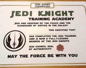 star wars inspired printable jedi knight certificate instant download paper size a4 version 2