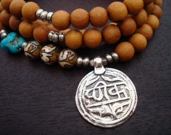 Men's Turquoise & Sandalwood Good Health Mala // Necklace and Wrap Bracelet // Yoga, Jewelry, Buddhist, Meditation, Prayer Beads, Jewelry