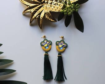 Pineapple Earrings, Pineapple Swarovski, Pineape Tassel, Pineapple Statement Earrings, Pineapple Hand Embroidered Earrings, Trending Jewelry
