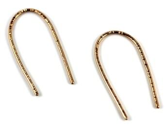 Bronze open hoop earrings, geometric earrings, Arc hammered threader earrings, deco hoops, sand and silver earrings Victoria BC Canada
