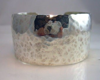 Thick Hammered Sterling Silver Cuff Bracelet Artisan Hancrafted