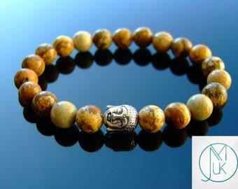 Buddha Picture Jasper Natural Gemstone Bracelet Beaded 6-9'' Elasticated Healing Stone Chakra Reiki With Pouch FREE UK SHIPPING