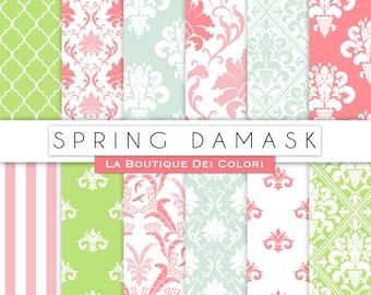 Spring damask digital paper. Spring digital paper pack damask backgrounds patterns for commercial use clipart pink green blue