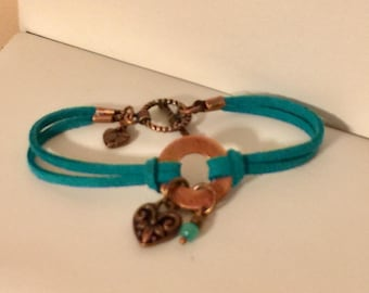 Turquoise copper faux suede bracelet with heart charm
