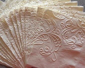 Wedding Napkin ~ Embossed Paper Napkin ~ Wedding ~ Bridal Shower ~ Engagement ~ Anniversary ~ Birthday ~ Elegant Swirl ~ Beverage ~ Dinner