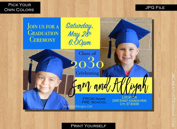 items similar to preschool graduation invitation kindergarten