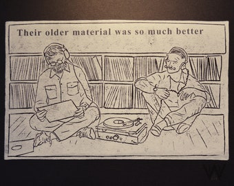 Hipsters in Conversation: Records Lino Print