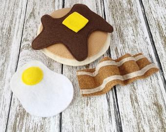 Baby Bear Pancake Breakfast, One Pancake, Syrup, Butter, Felt Food, Play Food, Montessori, Chef, Bacon, Breakfast, Brunch, Egg, Lumberjack