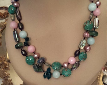 Two strand faceted assorted beaded necklace