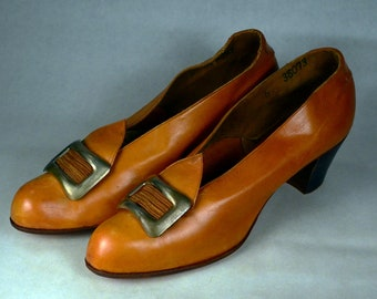 1910s Golden Leather Afternoon Pumps_Buckle and Pointed Tongue_All Original, True 1910s Vintage_Estimated Sz 7_Stacked Cuban Heel