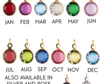 Add-on Medium gold Birthstone charm, to add onto existing orders only!, bridesmaid gift, mothers day gift
