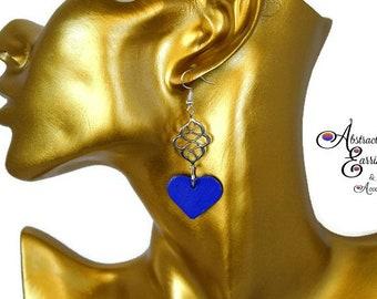 Blue Heart Dangle Earrings, Hand Painted Wood Earrings, Cute Silver Charm Earrings Gifts for Her, Free Shipping