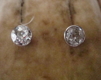 Edwardian 18ct old brilliant cut diamond earrings 2.00ct