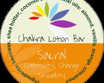 Sacral Chakra Lotion Bar #chakras #aromatherapy #tin #shea butter #almond #orange #vanilla #cinnamon