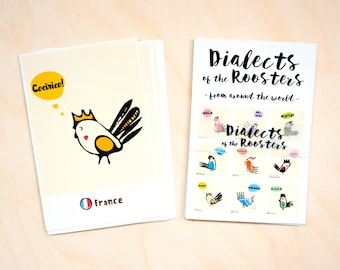 Collectibles dictionary 10 set Print study Funny art card Illustration rooster Postcrossing line card Printed mail Print study Bird World