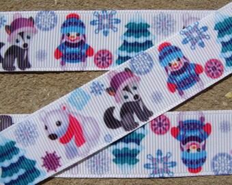 "7/8"" Christmas Polar Bear Ribbon 3 yards Grosgrain Ribbon Hair Bow Ribbon Christmas Ribbon Winter ribbon Holiday Ribbon supplies"