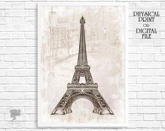 Paris, Vintage Paris print, Paris wall decor, Paris bedroom decor, Eiffel Tower, Paris art, Wall art vintage, Beige Wall decor, Paris poster