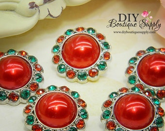 Acrylic Rhinestone Pearl buttons CHRISTMAS Red & Green  Pearl Flower centers Headband Supplies 5 pcs 23mm 178040