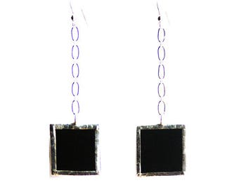 Stained Glass Earrings- Black Dangling Earrings- Chain Linked Earrings- Modern Earrings- Black Glass Earrings- Art Deco Earrings- Citybitz