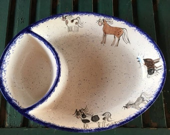Horse Dish by Molly Dallas - Horse themed chip and dip bowl - perfect for horse & Horse Dishes and Horse Mug by Molly Dallas Horse Serving
