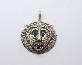 Sterling/Sapphire Mythological Creature Mask Pendant