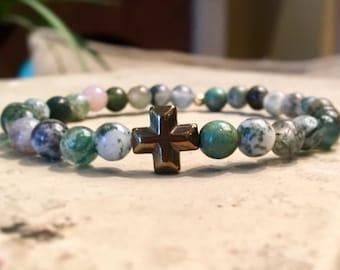 Gold Cross Bead Bracelet