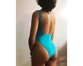 Blue one piece swimsuit