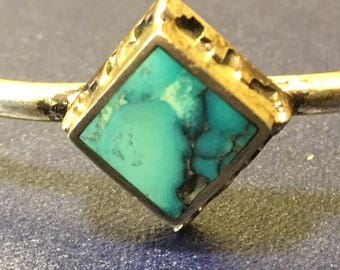 Sterling Silver and Turquoise small size Native American handmade bracelet