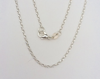 """Sterling Silver Oval Cable Chain, 24"""" Sterling Silver Chain, 1.8 mm Sterling Silver Cable Chain"""