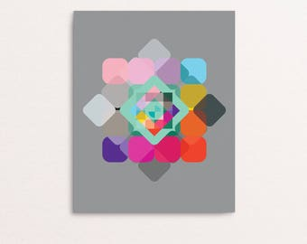 Abstract 03 - Optical Squares with Bright Colours Geometric Art Print