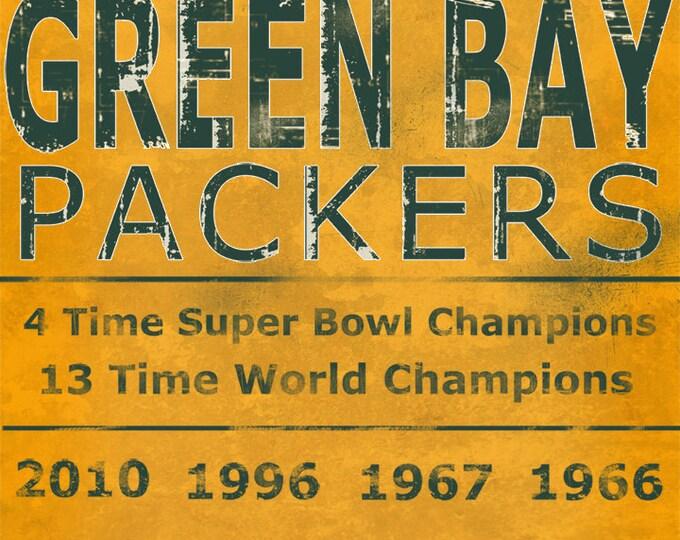 Green Bay Packers Lambeau Field Vince Lombardi Wall Art Home Decor Man Cave Sports Fan Home and Living Vintage Art Print on Wood 16x20