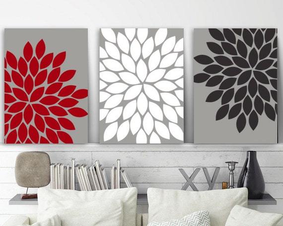 Flower Wall Art Gray Red Black Bedroom Pictures CANVAS Or