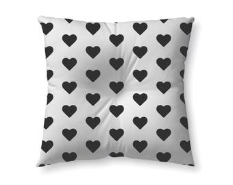 Black and Hearts - floor pillow