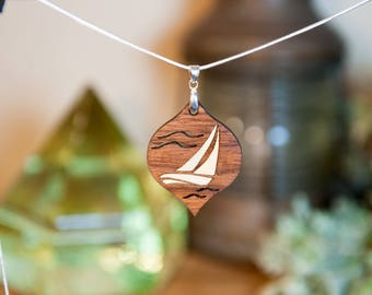 Sailboat - Wood Inlay Necklace and Charm - Walnut and Curly Maple