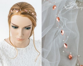 Delicate wedding hair jewelry, pearls and leaves bridal halo, bridal hair vine in rose gold