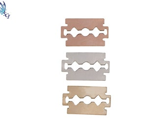 10Pcs-Sterling Silver Razor Blade Charm, Rose Gold Filled Razor Blade Charm, Gold Filled Razor Blade Charm, Razor Blade Stamping Blank,144DR