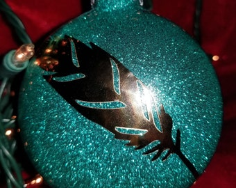 Metallic Gold Feather Ornaments - Set of 4