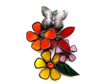 Flower stained glass suncatcher, butterfly art, summer home decor, window decoration, 3D flowers