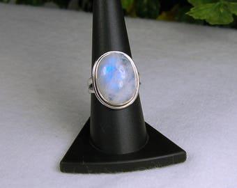 Moonstone Ring, Size 9, Electric Blue Flash, Rainbow Moonstone, Natural Moonstone, Sterling Silver, June Birthstone, Blue Moonstone