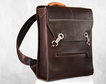 Brown Laptop Backpack | Brown Briefcase Backpack | Leather Laptop Bag - the Ben