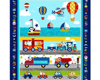 Off We Go Transportation Panel 35in x 44in Children's Cotton Fabric By Studio E